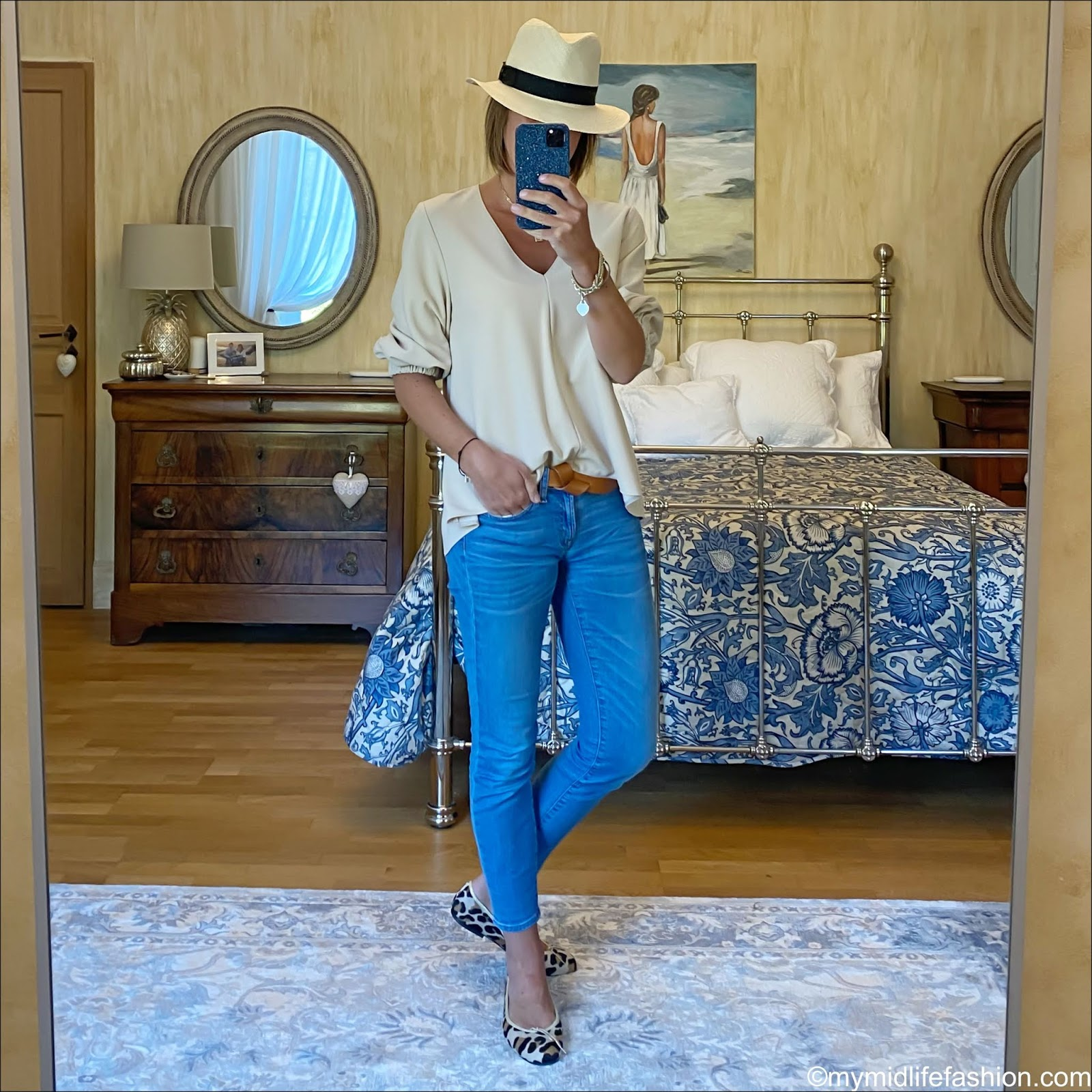 my midlife fashion, h and m Panama hat, tibi loose fit blouse, Isabel Marant lecce leather belt, j crew 8 inch toothpick jeans, French sole Henrietta leopard print ballet pumps