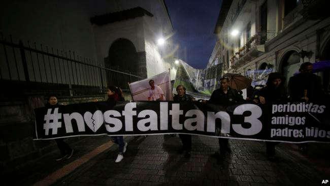 Manifestación de apoyo a los tres reporteros de El Comercio / AP