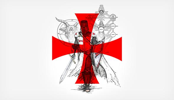 La cruz templaria junto con un caballero templario y la cabeza de baphomet