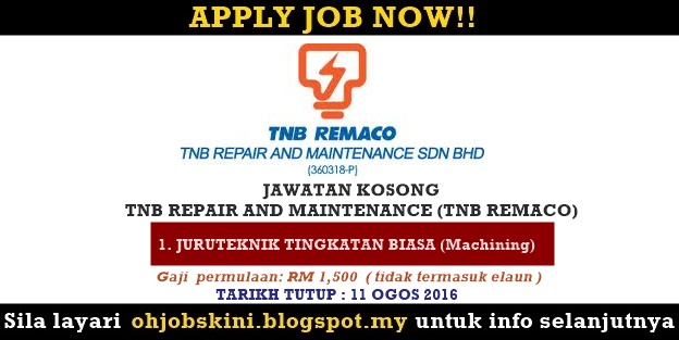 Jawatan Kosong TNB Repair And Maintenance (TNB REMACO)