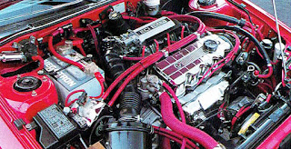 Picture of Chuck Barbosa's award winning red Plymouth Laser's engine compartment