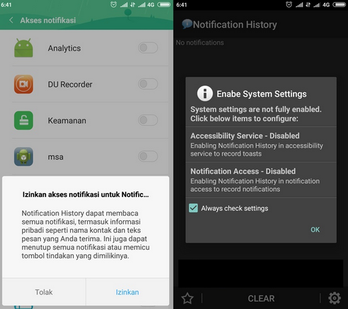 Allow recent notification apps or notification history on your Android phone