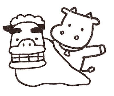 獅子舞と牛のイラスト(丑年・白黒線画)