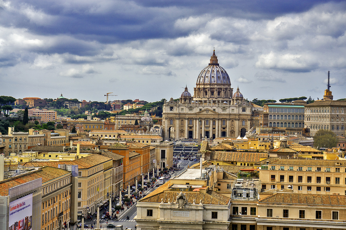 View of St. Peter's Basilica from Castel Sant'Angelo in Rome, Italy
