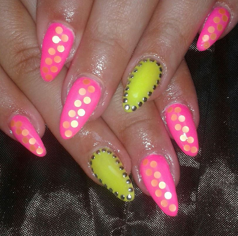 Pink Yellow Nails