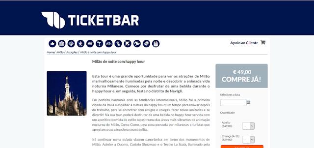 Ticketbar para ingressos para curtir Milão de noite com happy hour