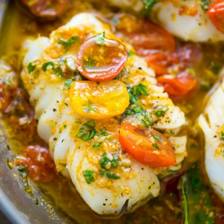Pan-Seared Cod in White Wine Tomato Basil Sauce #tomato #basil #vegetable #cauliflower #mushroom