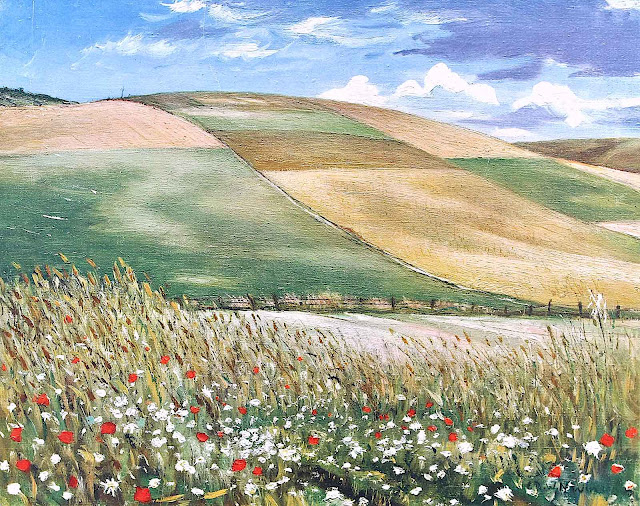 a C.R.W. Nevinson painting of farm fields and wild flowers