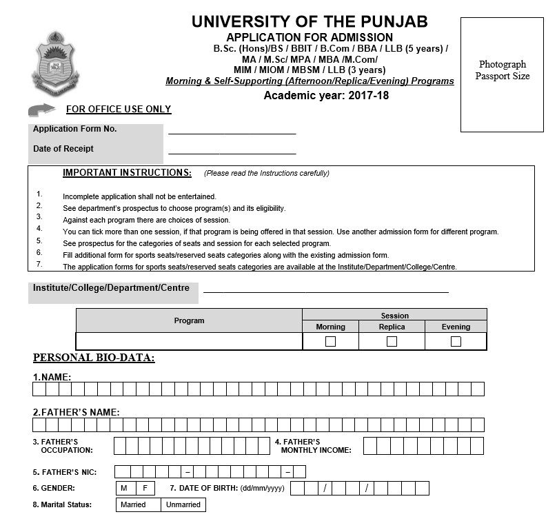 Admission Form for University of Punjab for Undergraduate
