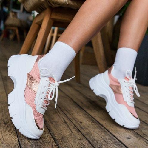 Adidasi roz din plasa cu talpa groasa la moda