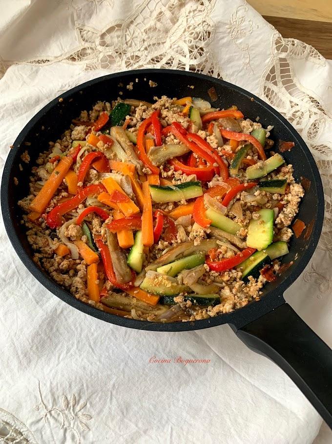 Tacos de pavo y verduras
