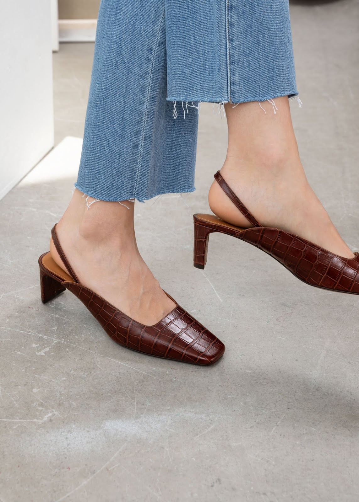 These Square-Toe Croc-Embossed Mule Heels Are a Dream