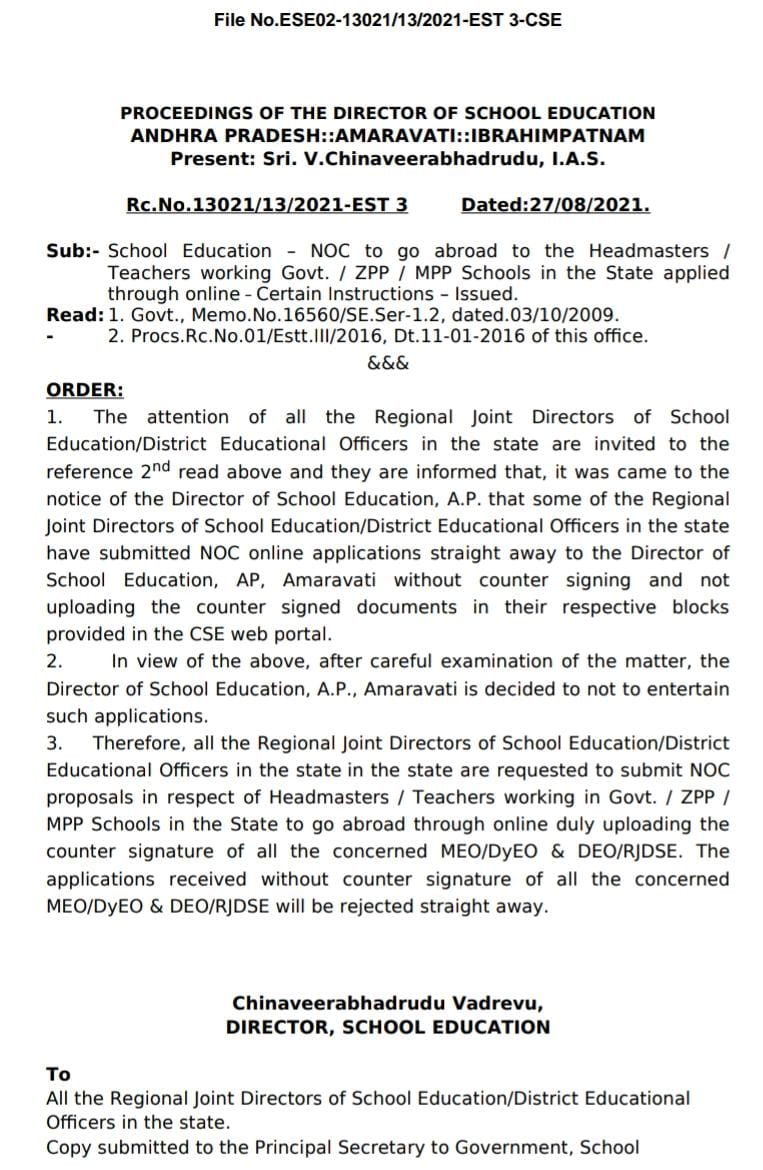 NOC to go abroad to Teachers applied through online- Certain Instructions Rc.13021,Dt.27/8/2021