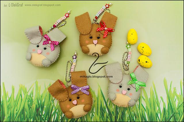 545. Króliczki z filcu / Felt keychain bunnies