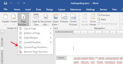 Cara Mengganti Format Nomor Halaman Word