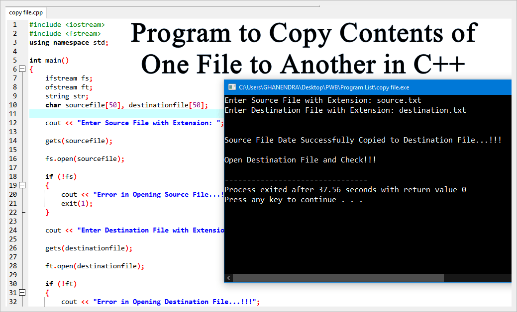 The Output of C++ Program to Copy One File to Another