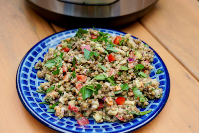 image of Instant Pot French green lentil salad on a blue plate