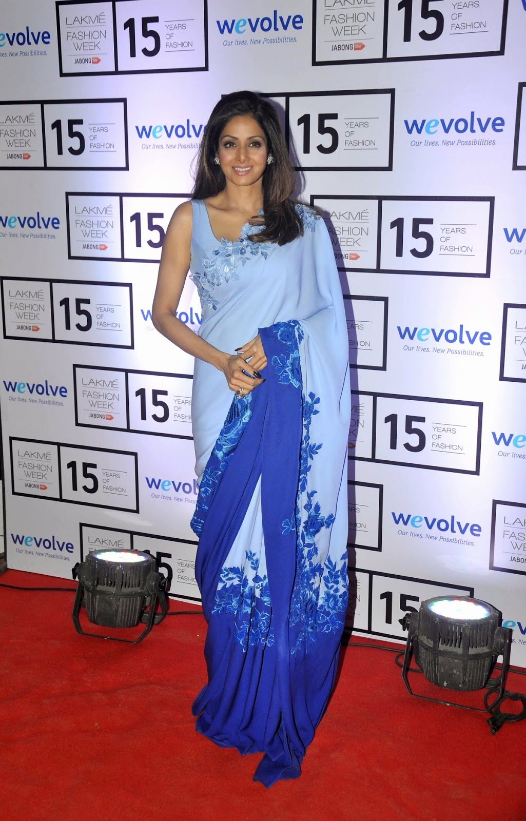 Sridevi Kapoor  in Designer  Grey and Navy Double Shaded Embroidery Work Saree ❤ *  ❤