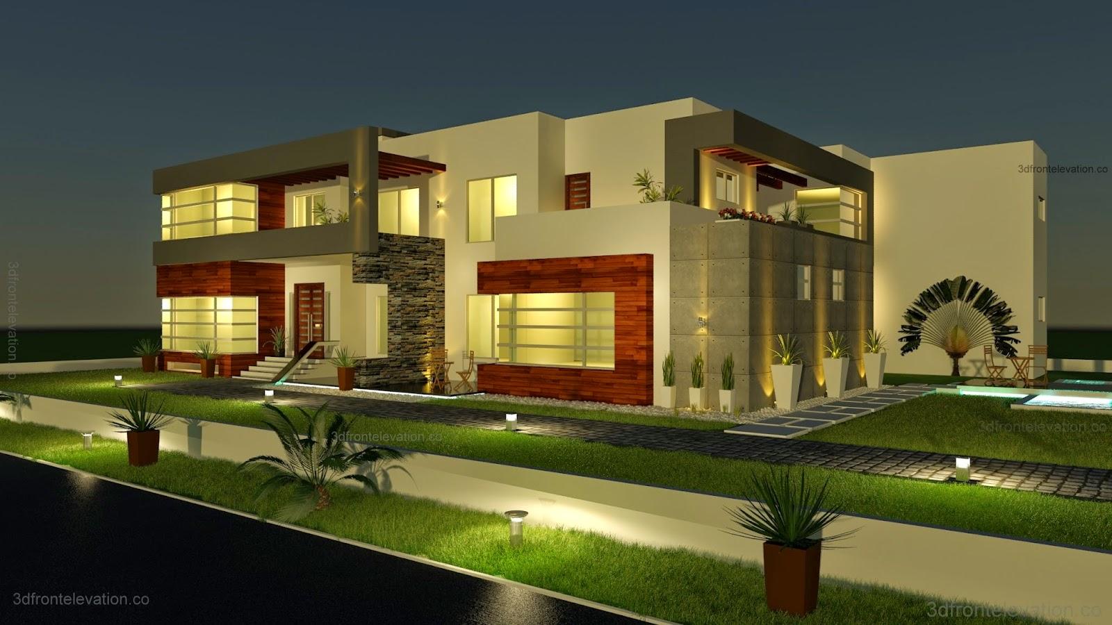 Open House Plans 3d Front Elevation Com 500 Square Meter Modern