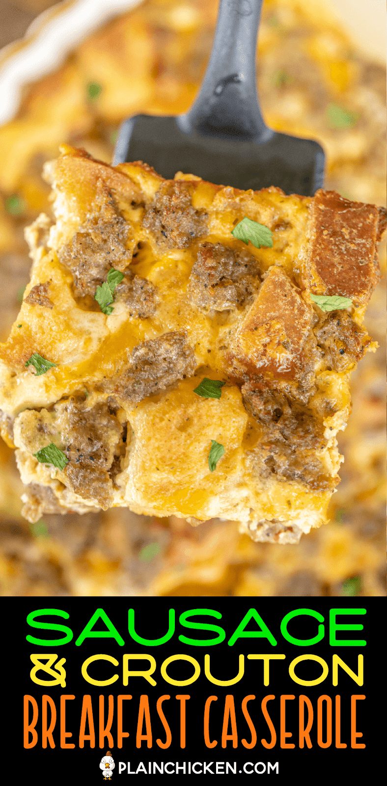 slice of sausage breakfast casserole on spatula