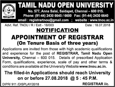 Tamil Nadu Open University Recruitment 2018: Registrar Post Vacancy Notification July 18, 2018