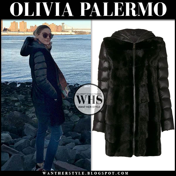 Olivia Palermo in black puffer fur cara mila lisa parka and skinny jeans. winter style december 9