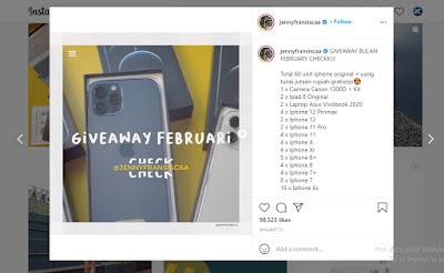 Cara menang give away di Instagram