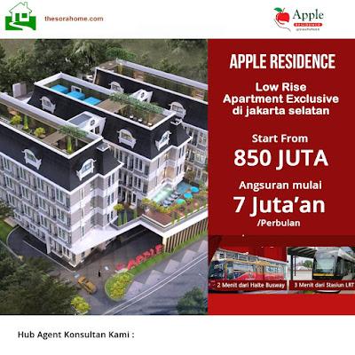 Apple Residence Jakarta Selatan.  Apple Residence merupakan hunian mewah,elegan dan murah di Simatupang Jakarta Selatan erta investasi yang menguntungkan karena letaknya yang strategis di Jakarta.Apartemen Apple Residence ini terdiri dari tiga tower dan hanya 300 unit,sangat terbatas.keunikan lain yaitu floor to welling yang tinggi yaitu 5m,memungkinkan untuk pasang meizzanine.Low Rise Apartement konsep 2 lantai Mezanine.Eksklusif dengan fasilitas premium terlengkap dan lokasi paling strategis di dekat segitiga emas yaitu Tb..Simatupang Jakarta Selatan.Angsuran ringan dengan hanya 7 jutaan,Aparatemen dengan jaminan privasi dan keamanan terjaga 24 jam.Di himpit oleh Working Area yaitu CBD Simatupang dan Lifestyle.  Apartement low rise pertama di Jakarta yang memiliki high celling concept.Dengan konsep celling consept ini apartement Anda akan sangat nyaman di huni dimana tinggi floor to floor 5m sehingga Anda memiliki 1 unit studio tapi dengan 1 BR.Nah ini yang membedakan Aplle Residence dengan apartement lainya di Jakarta.Umumnya tipe studio tidak memiliki kamar tapi di Apple Residence Anda beli haarga studio tapi dapat 1 BR.