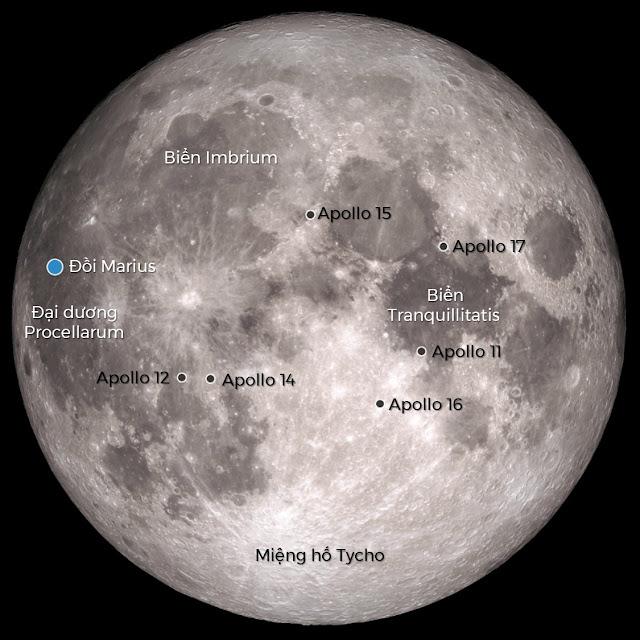 Chú thích các vị trí địa hình trên Mặt Trăng và những điểm hạ cánh của các sứ mệnh Apollo trong quá khứ. Đồi Marius là nơi phát hiện đường hầm. Hình ảnh: NASA. Dữ liệu: NASA, JAXA. Chú thích: Ftvh - Vũ trụ trong tầm tay.