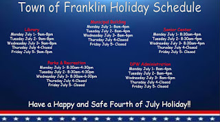 Town of Franklin: July 4th and 5th Holiday Operation Schedule