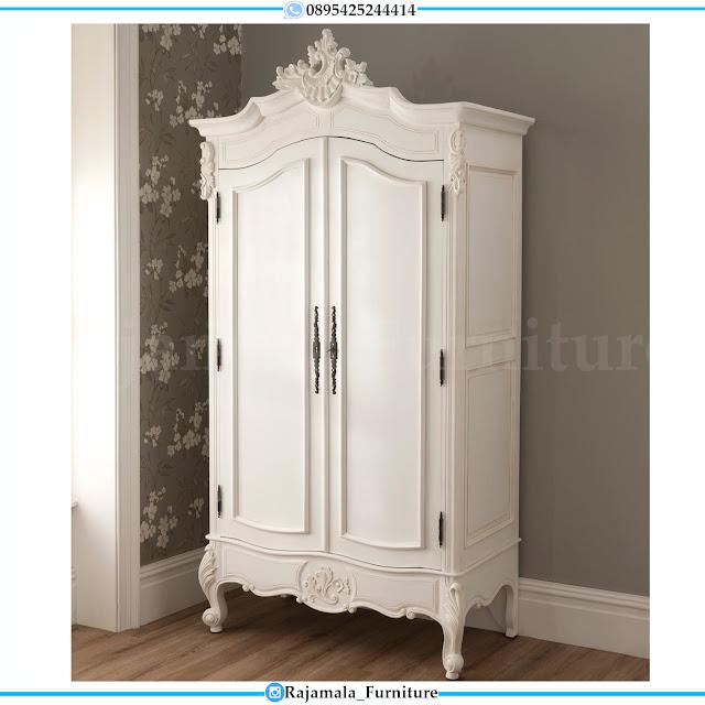 Desain Lemari Pakaian Mewah 2 Pintu Putih Duco Luxury RM-0298