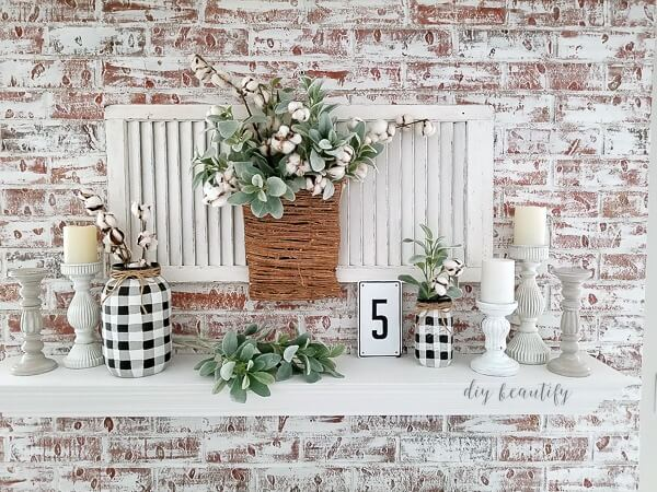 styled chalk painted fireplace mantel