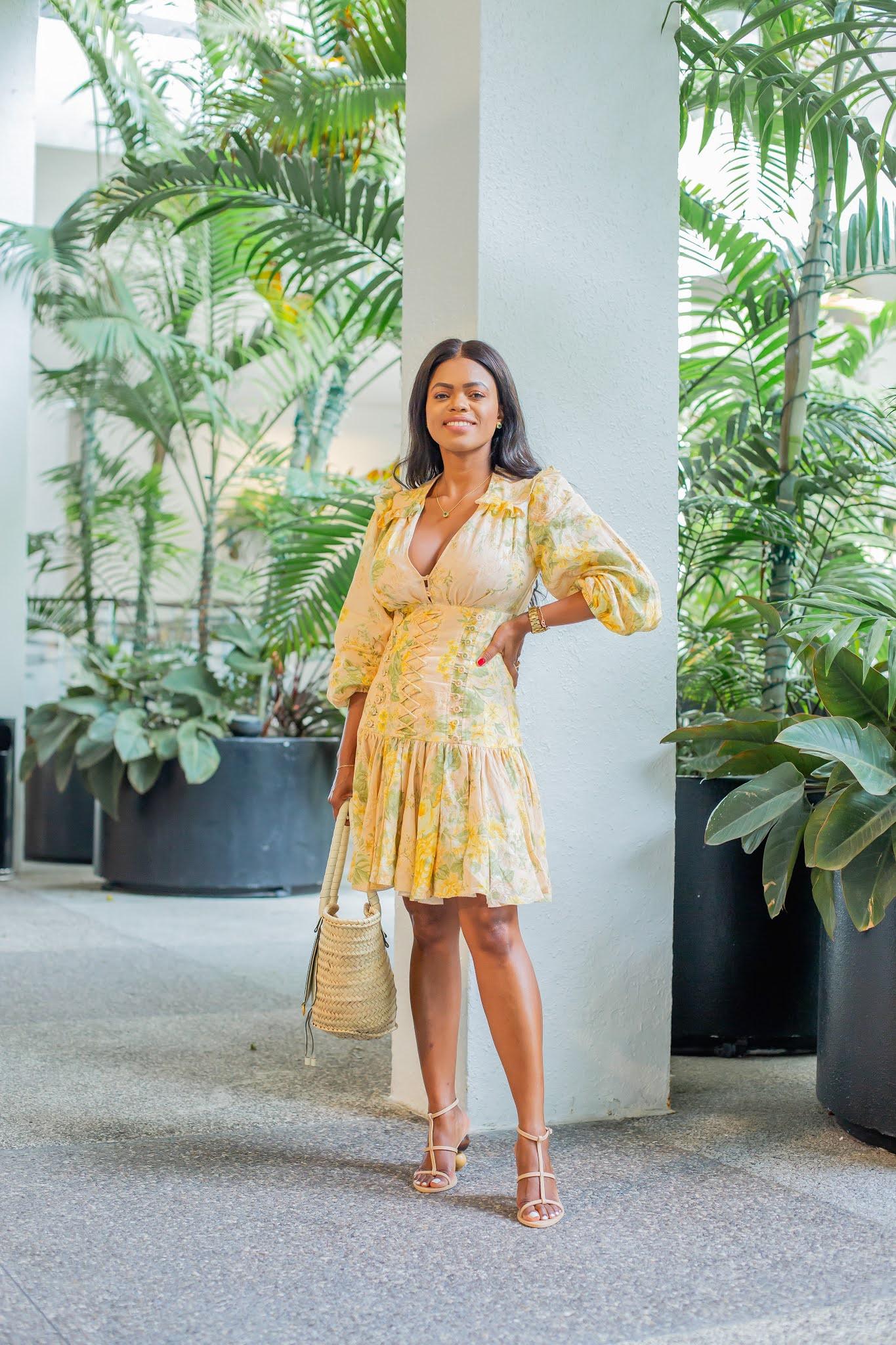 ZIMMERMANN Amelie lace-up ruffled floral-print linen mini dress