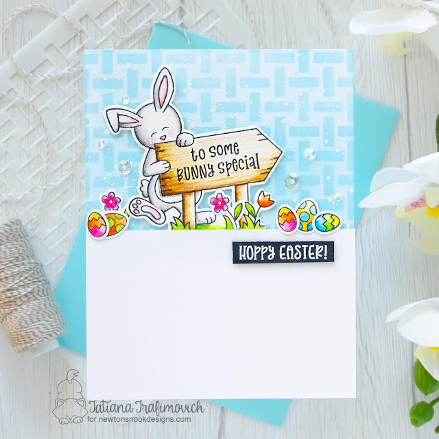 Some Bunny Special Card by Tatiana Trafimovich | Hoppy Greetings Stamp Set and Basketweave Stencil by Newton's Nook Designs #newtonsnook #handmade