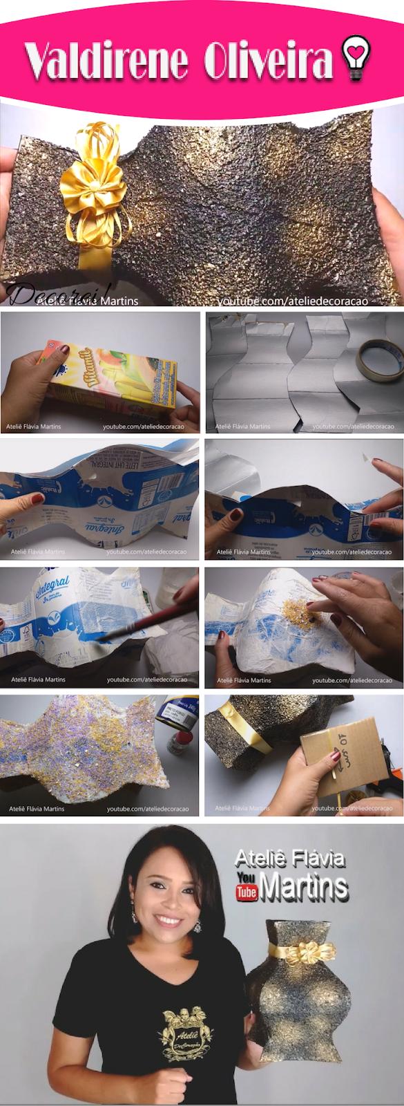 Passo a passo do vaso feito com caixa de leite pela artesã by Flávia Martins
