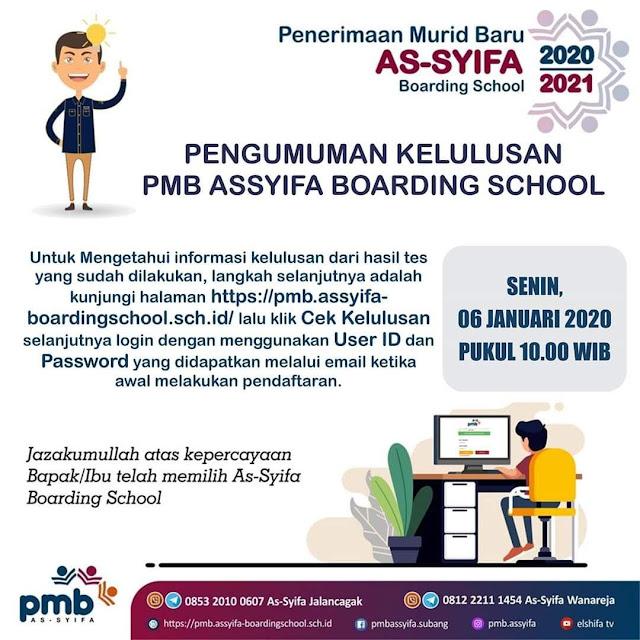 Pengumuman Kelulusan PMB AsSyifa Boarding School 2020/2021