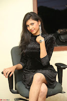 Mounika in a velvet short black dress for Tick Tack Movie Press Meet March 2017 018.JPG