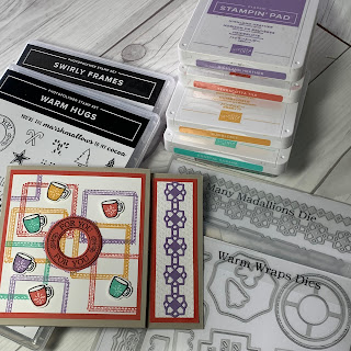 Stamp sets, dies and inks used to create a gift card holder with coffee mugs