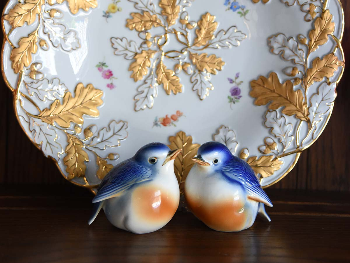 Vintage ceramic bluebird figurines