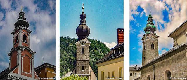 Campanários típicos dos Alpes em Salzburgo