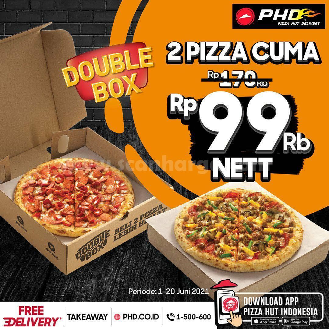 Promo PHD Double Box! Beli 2 Pizza Cuma Rp. 99RB nett