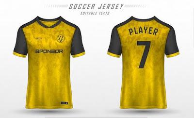 Template desain jersey warna kuning