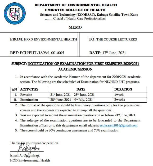 ECOHSAT Exam Date for 1st Semester 2020/2021 | ND & HND