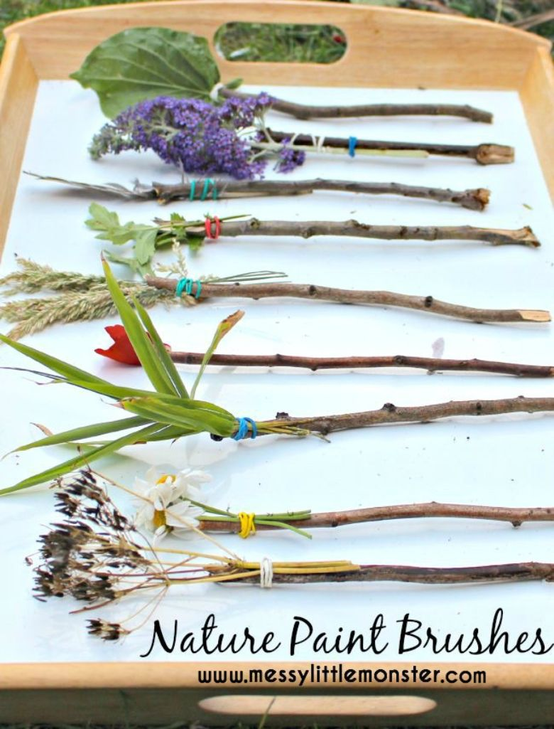 Nature paint brushes nature craft for kids