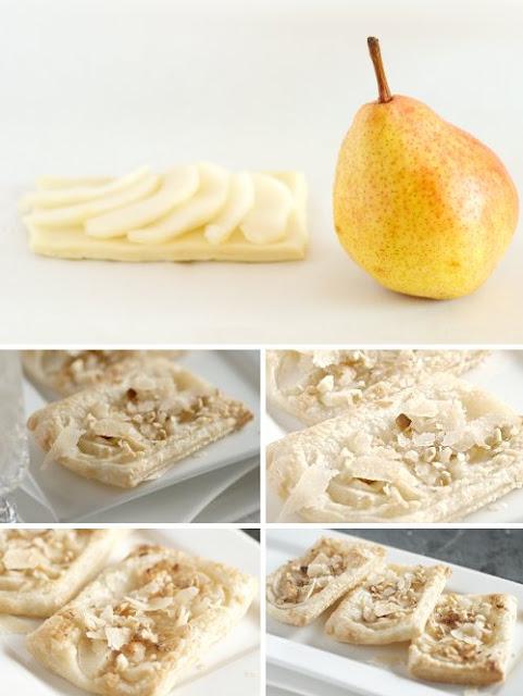 Sfogliatine con pere, formaggio e noci