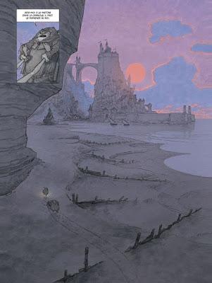 Pleine page, bords de mer avec Nyx et son pere s'éloignant dans le sable