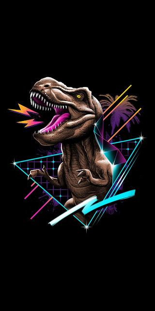 Retro wallpaper T-Rex Vintage Dino 80's