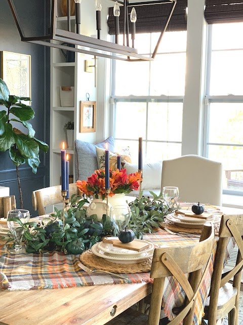 colorful fall tablescape