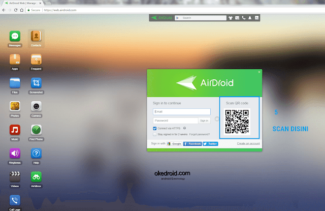 Situs Web AirDroid Android ke PC ke Android
