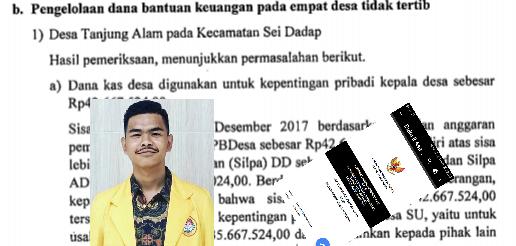 Salinan buku hasil audit BPK, insert foto Presiden BEM UNA M Nur Hidayat.